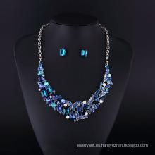 Conjunto de collar de aleación de zinc con diamantes de imitación de zafiro 2016