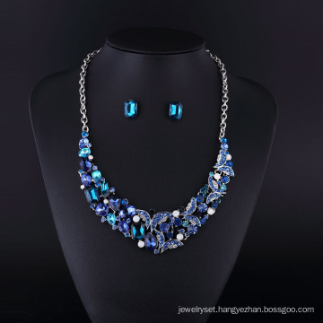 2016 Sapphire Rhinestone Zinc Alloy Necklace Set