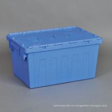 Las cajas logísticas de la jerarquización al por mayor del plástico ataban la tapa Plástico que mueve los contenedores de almacenamiento
