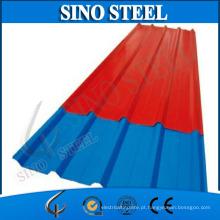 Telhado de telha plástico ondulado revestido da cor do PVC