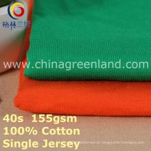 Algodão único spandex tecido jersey para blusa de t-shirt (gllml399)