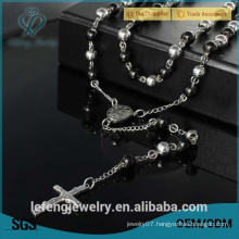 Men's Stainless Steel bead Chain Cross Pendant Necklace