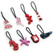 Nice Delicate Popular Special Design Fashion Custom Handbag Pvc Zipper Pulls Custom Plastic Zipper Puller