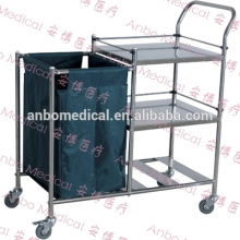 Hospital stainless steel Storage Linen Trolley