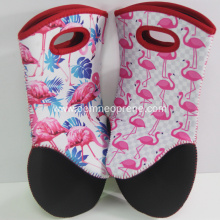 Neoprene BBQ cooking gloves oven mitts with printing