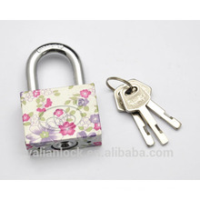 Flower painted Electroplating Small Cute square type vane key pattern printing Iron Padlock