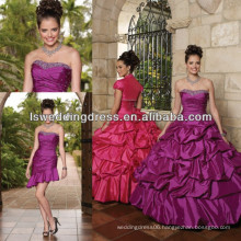 HQ2005 Bright purple beaded detachable quinceanera gown