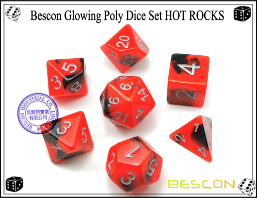 Bescon Glowing Poly Dice Set HOT ROCKS-2