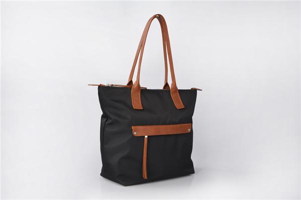 New Fashion casual office waterproof leather trim women nylon bag tote handbag