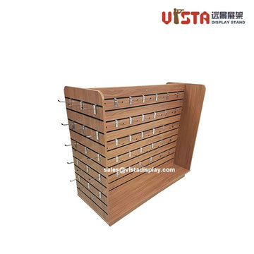 4+Way+Slatwall+Wooden+Display+Stand+with+Hooks
