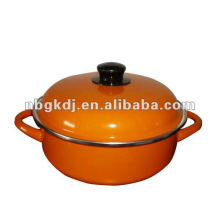 color enamel stock pot with bakelite knob and color polish