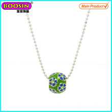 Großhandel handgemachte Metall Emaille Perlen Halskette # Scn005