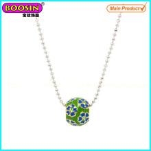 Collier en perles de métal émail en gros à la main # Scn005