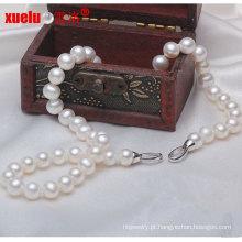 9-10mm barato redondo branco de água doce cultura colar de pérolas jóias