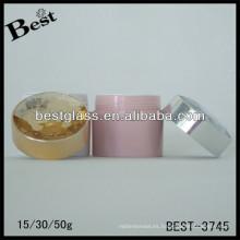 BEST-3745 / jarra para mascotas / tarro de acrílico de forma redonda, pmma, abs, as, 15,30,50ml frascos cosméticos de crema con tapa de diamante