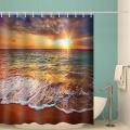 Sea Wave Waterproof Shower Curtain Beach Sunset Bathroom Decor Shower Curtain with Hooks