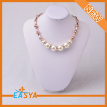 Glass Roses Necklace Beautiful Zinc Alloy Chain Necklace Handmade Beaded Necklaces