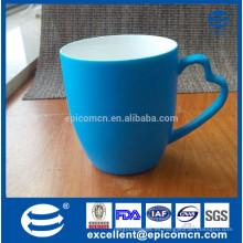 Color mate nueva taza china de hueso azul con mango único