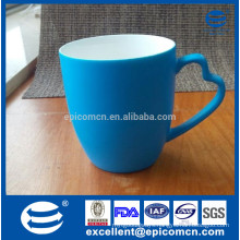 matt color new bone china blue mug with unique handle