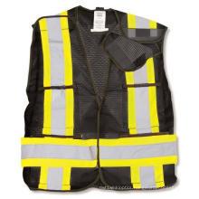 Black 100% Polyester Soft Mesh Safety Vest