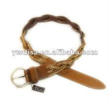 Cinturón de cuero trenzado y de cadena ancho para la mujer