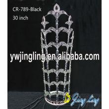 30 Inch Black Rhinestone Tiaras Metal Crown