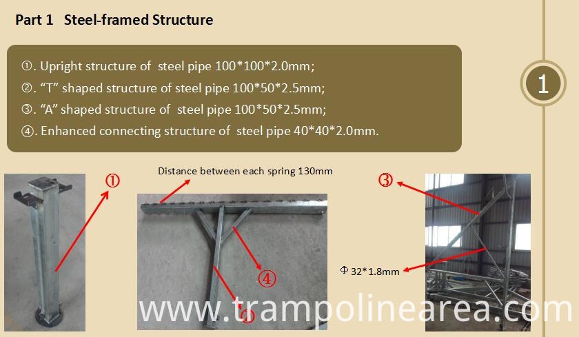 steel parts of trampoline Ladder