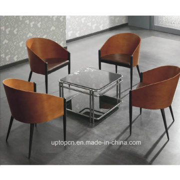 Fancy Canteen Bent Plywood Armrest Leather Chair (SP-BC099)