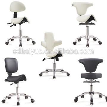 Salón de belleza naranja PU en sillas de barbero con base de cinco estrellas