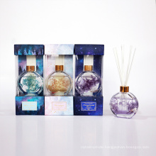 175ml reed diffuser in round glass bottle with flower in box for home