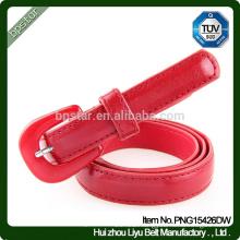 Genuine ladies Red leather Skinny Belts