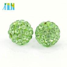 Manufacturer Supply Peridot Color Round Clay Shamballa Rhinestone Pave Crystal Beads Size 4mm-18mm, IB00103 - Peridot