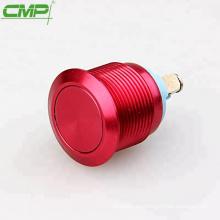 Interruptor de botón anodizado rojo coloreado momentáneo de metal SPST