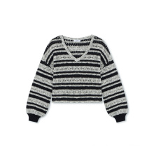 Fashion girls knitted sweater striped distressed crop sweater pullover  knitwear sweater