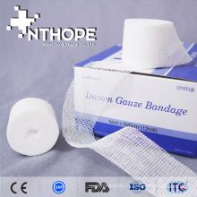 bandage de gaze blanchi chirurgical pur de haute qualité en coton pur