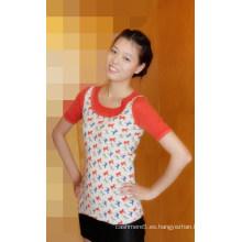 Manga del medio cuello del cachemira de las señoras medio del suéter con la impresión Cprss1101L