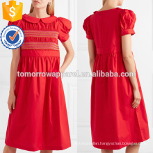Embroidered Shirred Short Sleeve Red Cotton Midi Summer Dress Manufacture Wholesale Fashion Women Apparel (TA0257D)