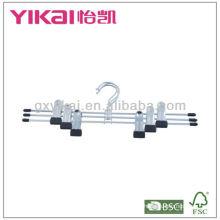 Conjunto de 3pcs cromado banhados a metal saia cabides com clipes de metal