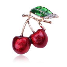 Enamel Fashion Windbreaker Green Leaf Cherry Series Brooch Flower Factory Direct Sales