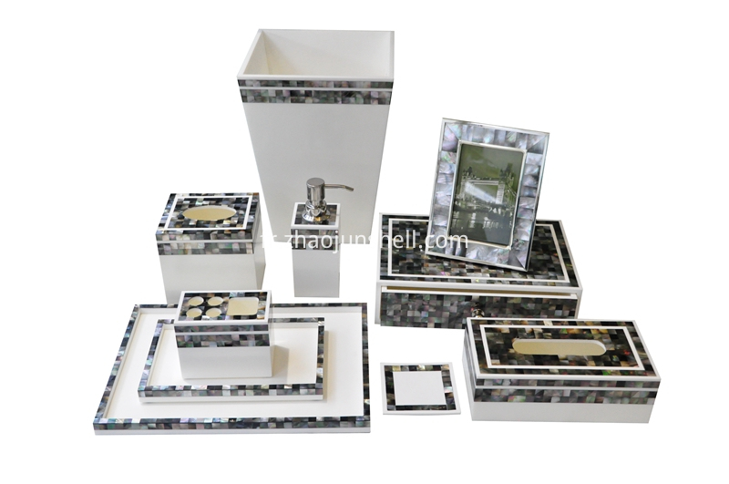 Black mother of pearl bathroom accessory set