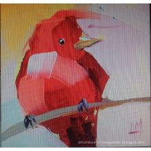 Peinture rouge pour toile d'oiseau