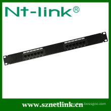 1u height 19inch 12 ports cat.5e patch panel