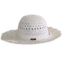 Women's Hat, Made of Paper Straw, in White, with Beautiful Braid Pattern and Black BandNew
