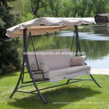 Chaise balançoire de jardin en métal avec coussin