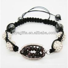 Bracelet en billes de cristal blanc tissé