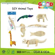 2015 nuevos juguetes animales de la pintura de DIY, juguetes de madera educativos de la pintura, juguetes populares de la pintura de los cabritos