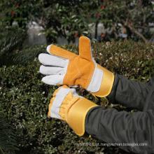 NMSAFETY algodão volta duplo palma vaca dividir couro trabalhos industriais luvas