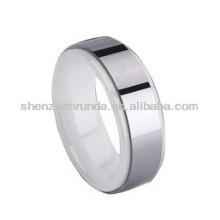 Weiße Farbe Keramik mit Kreis Metall Mode Ringe Schmuck benutzerdefinierte Design für Männer Frauen Keramik Metall Ringe Hersteller