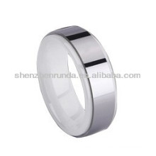 white color ceramic with circle metal fashion rings jewelry custom design for men's women's ceramic metal rings manufacturer