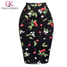 Grace Karin Occident Sexy Women Hips Wrapped Short Vintage Retro Robe en coton Cherry imprimé jupe CL008928-4